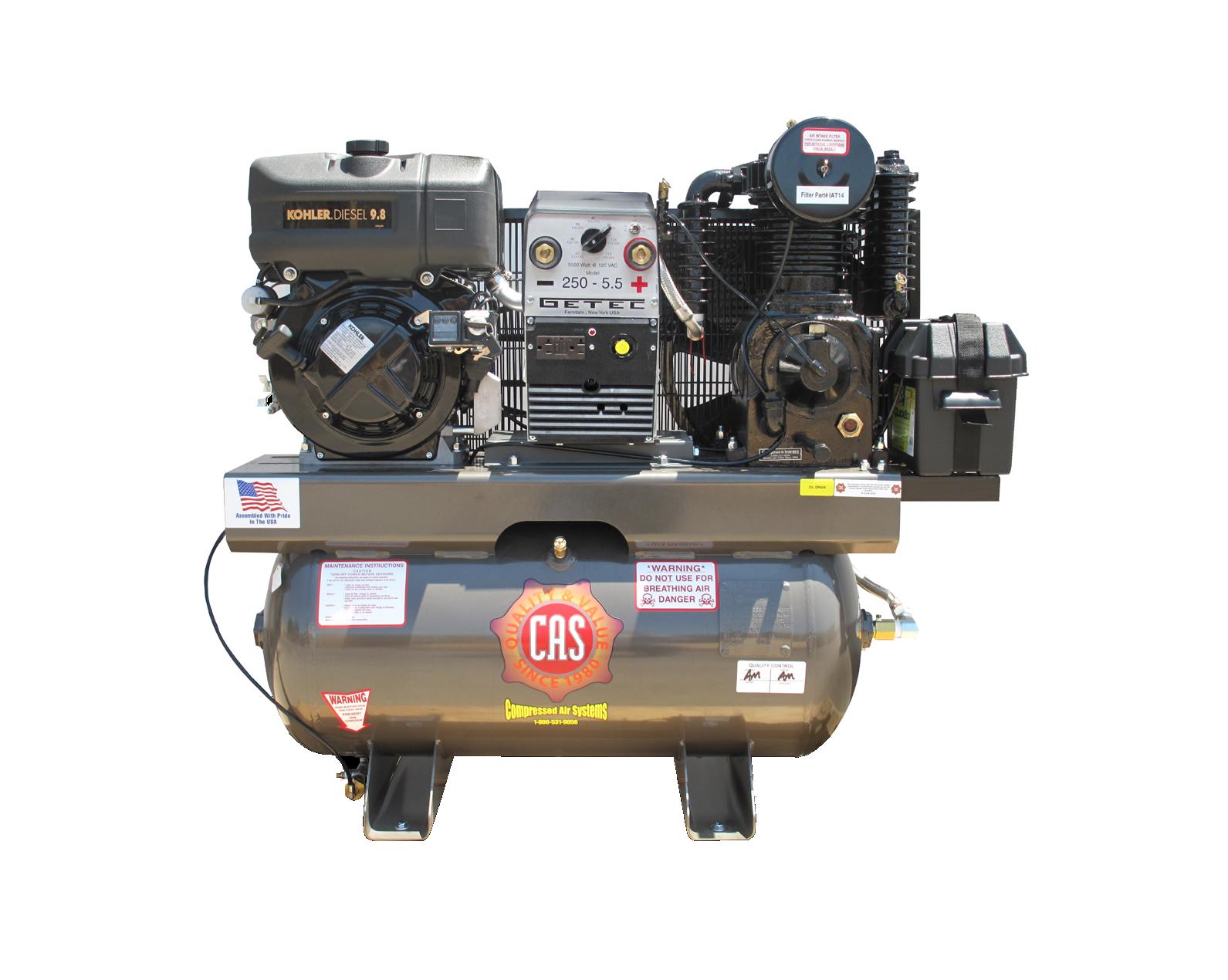 16 Cfm Diesel Engine Air Compressors With 5000 W Generator