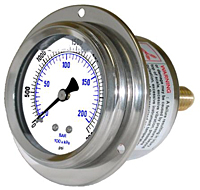 204L Front Flanged Panel Mount Liquid Filled Gauge