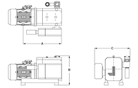 Dimensions - VCX Rotary Claw Vacuum Pumps