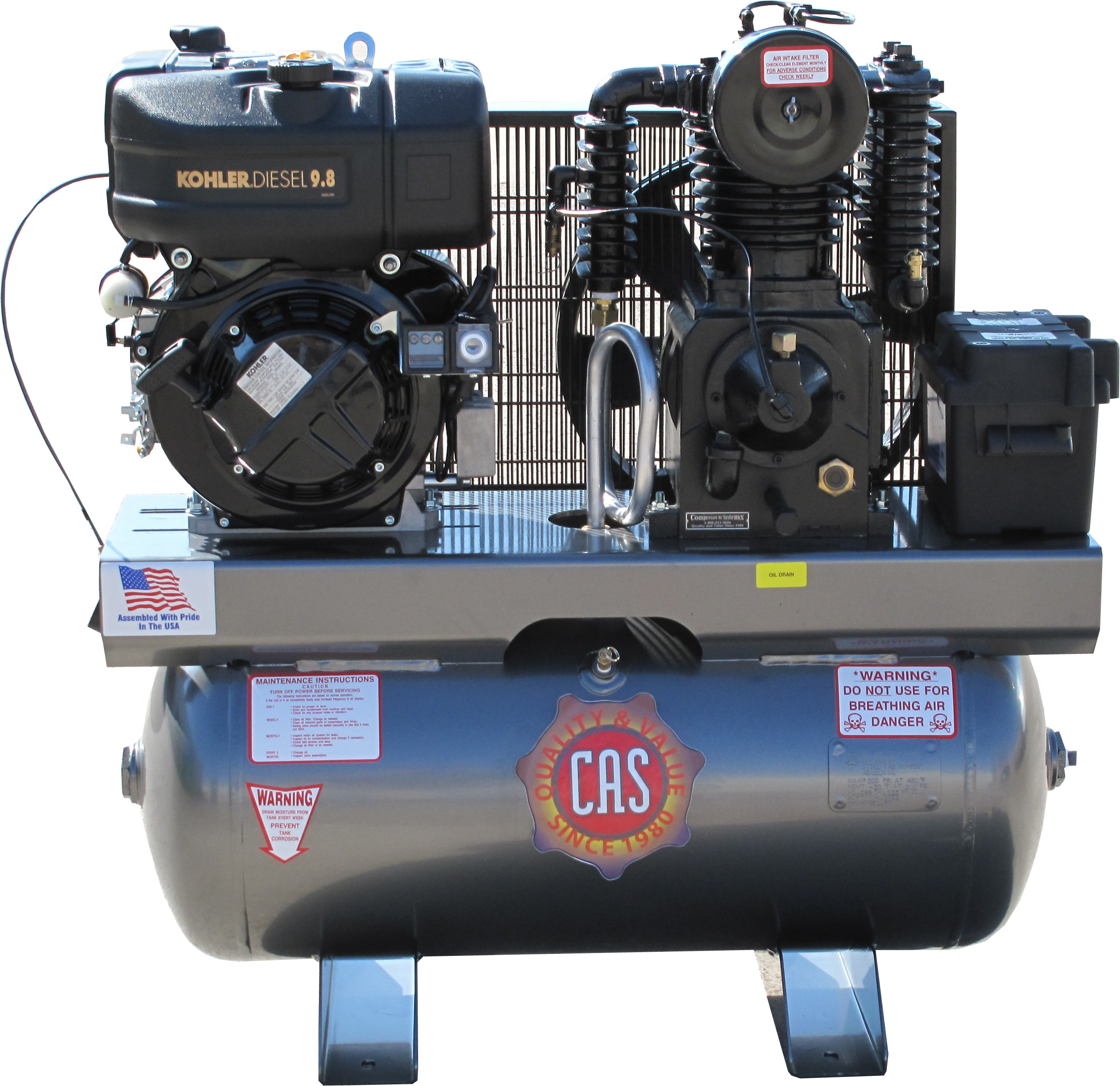 Tank Mounted Reciprocating Piston Diesel Air Compressors On Compressed Air Systems Inc