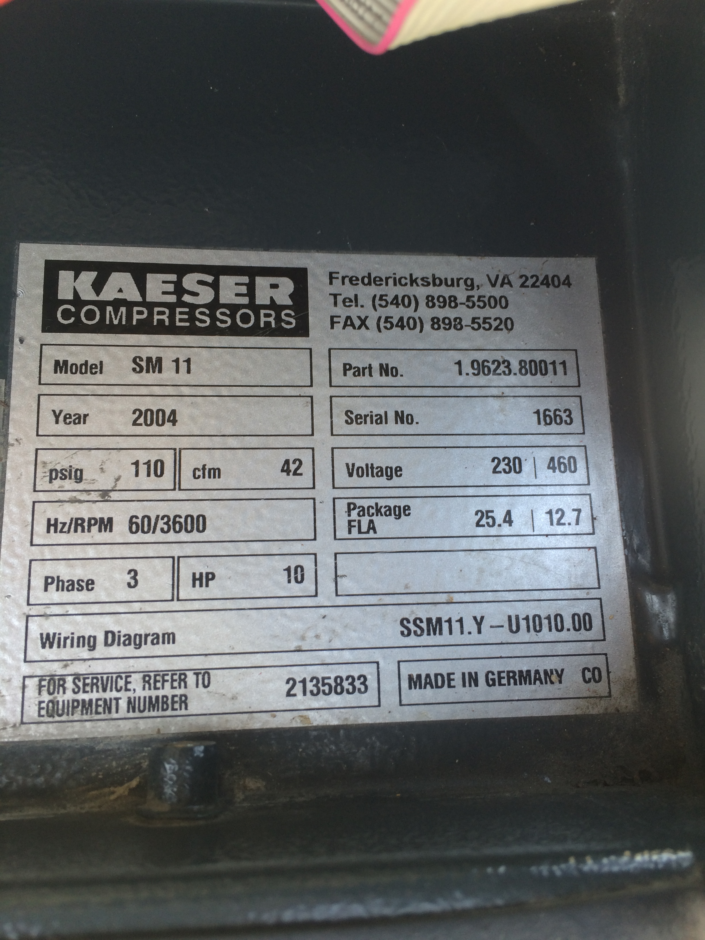 Item Kaeser Sm11 On Compressed Air Systems Inc