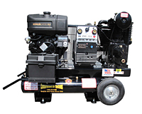 16 cfm Gas or Diesel Engine Air Compressors with 5000 W Generator and 200 A Welder