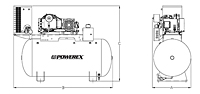 7.5 to 10 hp Tankmount Simplex Scroll Air Compressors with Refrigerated Dryer
